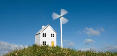 Model house and wind turbine